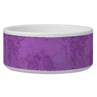 Rosas de la púrpura del vintage bol para perro