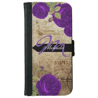 Rosas de la púrpura del vintage del monograma funda cartera para iPhone 6