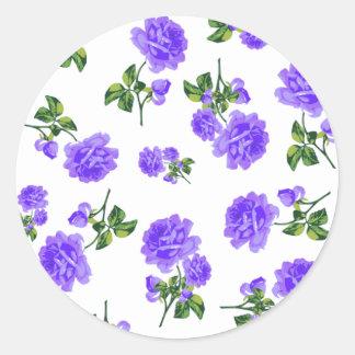 Rosas de la púrpura del vintage etiqueta redonda