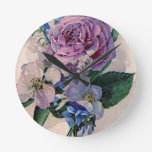 Rosas de la púrpura del vintage relojes de pared