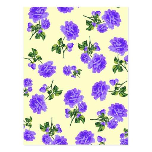 Rosas de la púrpura del vintage tarjetas postales