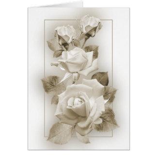 Rosas de la sepia tarjeta de felicitación