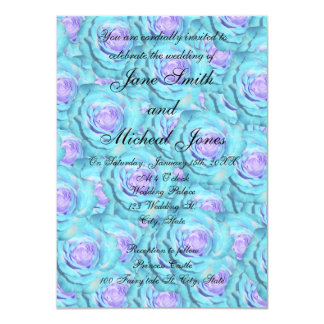 Rosas de la turquesa del monograma del boda invitacion personalizada