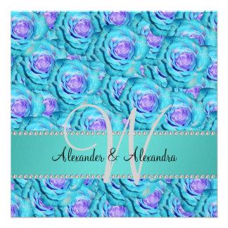 Rosas de la turquesa del monograma del boda invitaciones personales