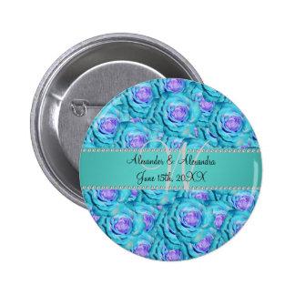 Rosas de la turquesa del monograma del boda pin