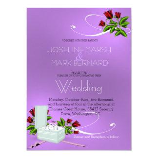 Rosas de las alianzas de boda de la lavanda que invitación 13,9 x 19,0 cm
