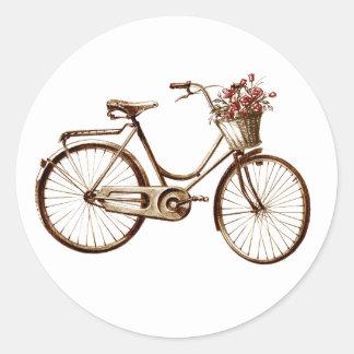 Rosas de las flores de cesta de la bicicleta de la pegatina redonda