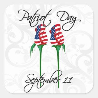 Rosas de las torres gemelas, el 11 de septiembre calcomanía cuadradase