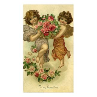 Rosas de los ángeles del Victorian del el día de Tarjetas De Visita