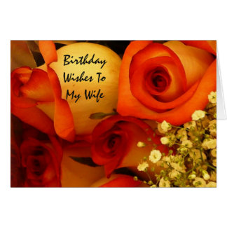 Rosas de los deseos, de la esposa, anaranjadas y tarjeta de felicitación