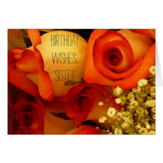 Rosas de los deseos, de la hermana, anaranjadas y tarjeta de felicitación