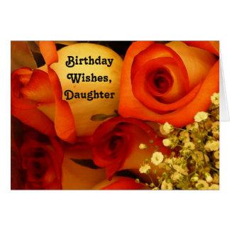 Rosas de los deseos, de la hija, anaranjadas y tarjeta de felicitación