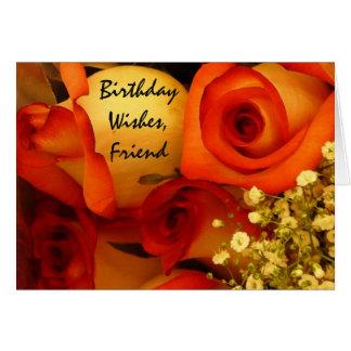Rosas de los deseos, del amigo, anaranjadas y tarjeta de felicitación