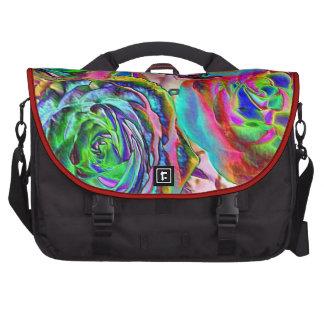 Rosas de lujo artísticos coloridos del bolso del o bolsas para portatil
