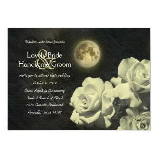 """Rosas de marfil del fantasma de la Luna Llena que Invitación 5"""" X 7"""""""