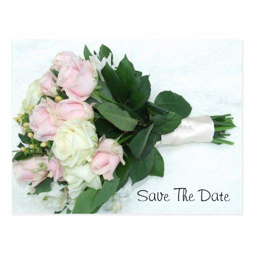 Rosas de marfil rosados que casan el ramo tarjetas postales