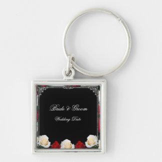 Rosas de marfil y rojos novia y llavero 2 del boda
