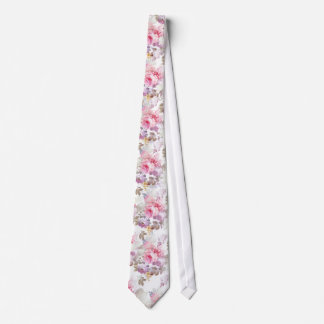 Rosas de moda de la acuarela rosada del vintage corbatas personalizadas