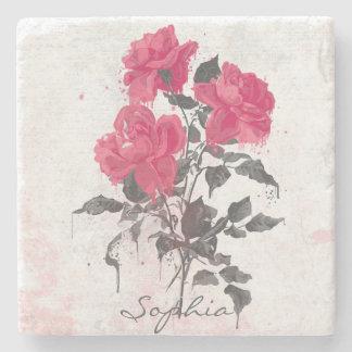 Rosas de moda hermosos de las acuarelas del vintag posavasos de piedra
