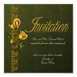 Rosas de oro que casan la habitación invitación 13,3 cm x 13,3cm