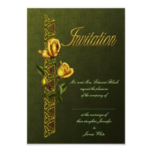 Rosas de oro que casan la habitación invitacion personalizada
