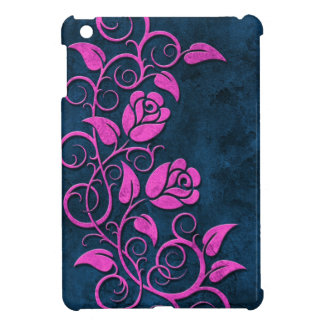 Rosas de piedra que remolinan púrpuras en azul iPad mini carcasas