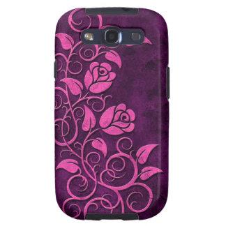 Rosas de piedra que remolinan, púrpuras samsung galaxy s3 fundas