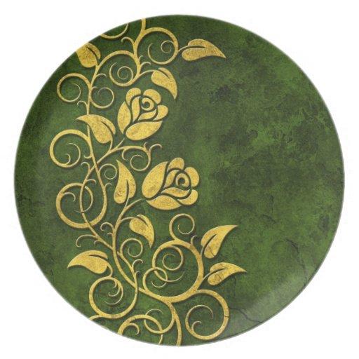 Rosas de piedra que remolinan, verdes plato para fiesta