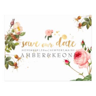 Rosas de PixDezines/floral/reserva la fecha/la Postal
