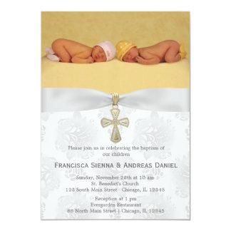 """Rosas de plata del bautismo con la foto invitación 5"""" x 7"""""""