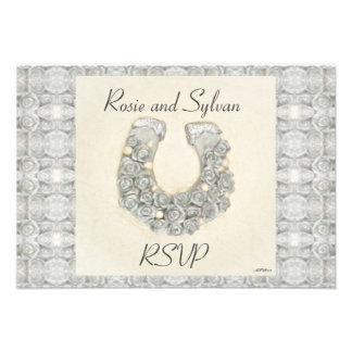 Rosas de plata RSVP que se casa de herradura Invitaciones Personalizada