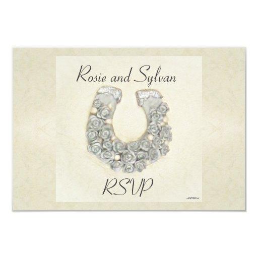 Rosas de plata RSVP que se casa de herradura Invitación 8,9 X 12,7 Cm