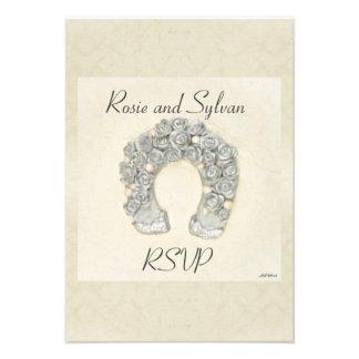Rosas de plata RSVP que se casa de herradura Comunicado