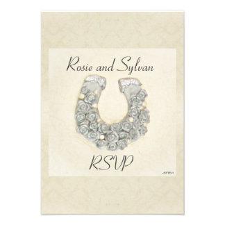 Rosas de plata RSVP que se casa de herradura Anuncio Personalizado