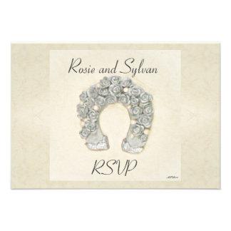 Rosas de plata RSVP que se casa de herradura Invitación