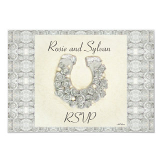 """Rosas de plata RSVP que se casa de herradura Invitación 3.5"""" X 5"""""""