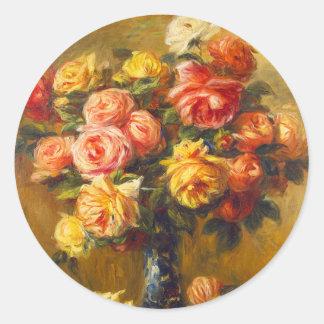 Rosas de Renoir en pegatinas de un florero Etiquetas Redondas