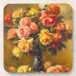 Rosas de Renoir en prácticos de costa de un florer Posavasos