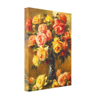 Rosas de Renoir en una impresión de la lona del fl