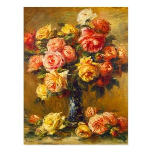Rosas de Renoir en una postal del florero