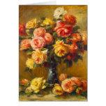 Rosas de Renoir en una tarjeta de nota del florero