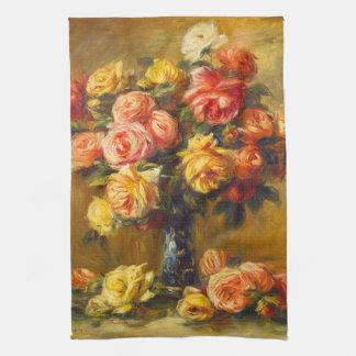Rosas de Renoir en una toalla de cocina del florer