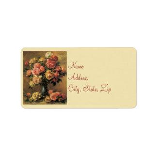 Rosas de Renoir que casan etiquetas de dirección
