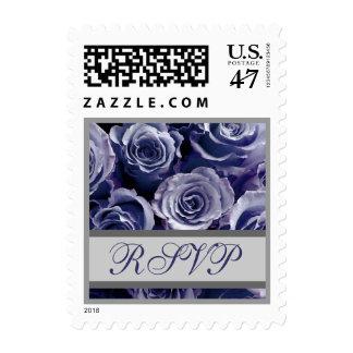 Rosas de RSVP de la bodas de plata púrpura y del Sello Postal