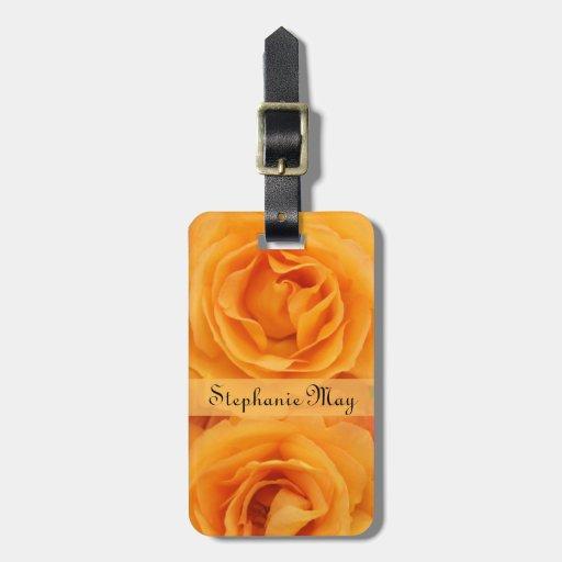 Rosas de té híbridos amarillo-naranja hermosos del etiquetas para maletas