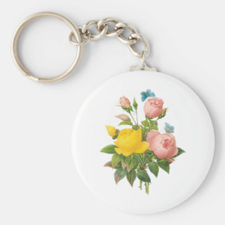 Rosas de té persas del rosa amarillo del vintage llavero redondo tipo pin