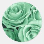 Rosas de VERDE MENTA - sello del sobre del boda Pegatina