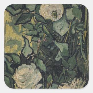 Rosas de Vincent van Gogh Pegatina Cuadrada