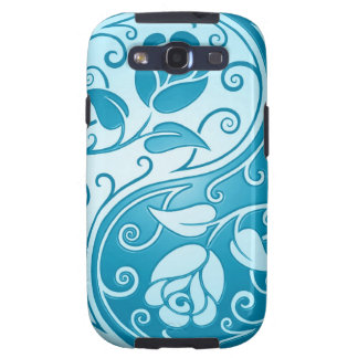 Rosas de Yin Yang, azules Samsung Galaxy S3 Carcasa