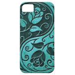 Rosas de Yin Yang de la piedra azul iPhone 5 Protector